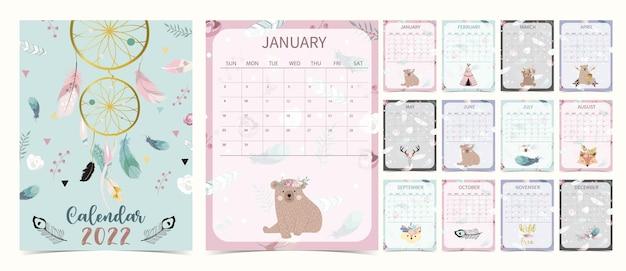 A semana do calendário de mesa bonito 2022 começa no domingo com filhote de urso que usa para impressão digital vertical e tamanho a4 a5