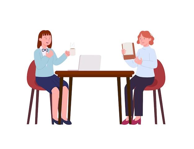 A senhora do escritório gosta de discutir em uma ilustração sentada na mesa
