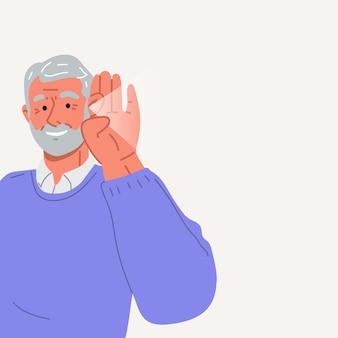 A senhora idosa é surdaa senhora idosa faz um teste de audição ilustração em vetor plana