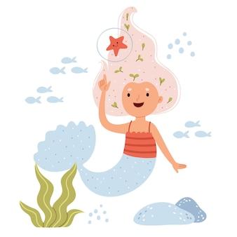 A sereia brinca com uma estrela do mar