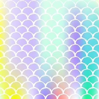 A sereia dimensiona o fundo com gradiente holográfico. transições de cores brilhantes. bandeira de cauda de peixe e convite. padrão subaquático e mar para festa de menina. cenário de espectro com escalas de sereia.