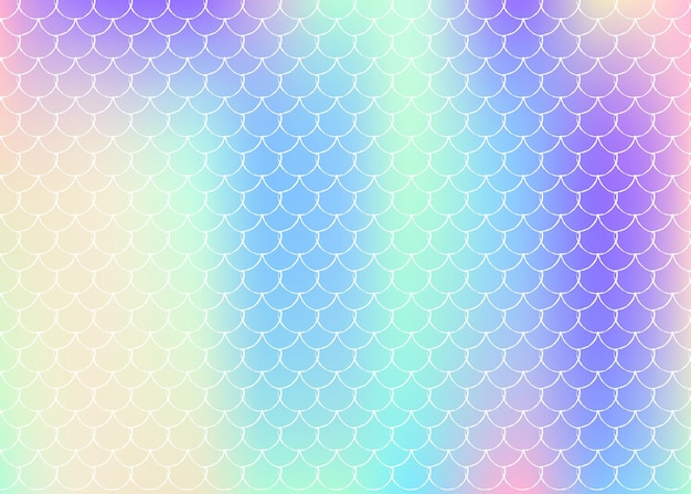 A sereia dimensiona o fundo com gradiente holográfico. transições de cores brilhantes. bandeira de cauda de peixe e convite. padrão subaquático e mar para festa de menina. cenário fluorescente com escamas de sereia.
