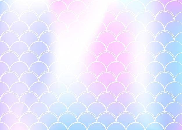 A sereia dimensiona o fundo com gradiente holográfico. transições de cores brilhantes. bandeira de cauda de peixe e convite. padrão subaquático e mar para festa de menina. cenário multicolor com escalas de sereia.