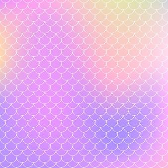 A sereia dimensiona o fundo com gradiente holográfico. transições de cores brilhantes. bandeira de cauda de peixe e convite. padrão subaquático e mar para festa de menina. pano de fundo criativo com escalas de sereia.