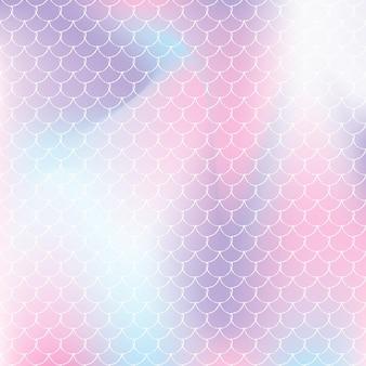 A sereia dimensiona o fundo com gradiente holográfico. transições de cores brilhantes. bandeira de cauda de peixe e convite. padrão subaquático e mar para festa de menina. pano de fundo elegante com escalas de sereia.