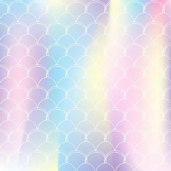 A sereia dimensiona o fundo com gradiente holográfico.