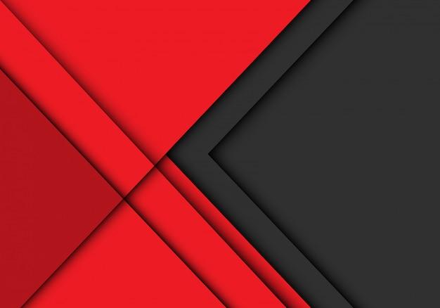 A seta cinzenta sobrepõe no fundo futurista moderno vermelho.