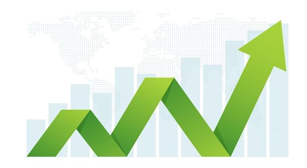 A seta de negócios define o conceito de metas para o crescimento financeiro de sucesso.