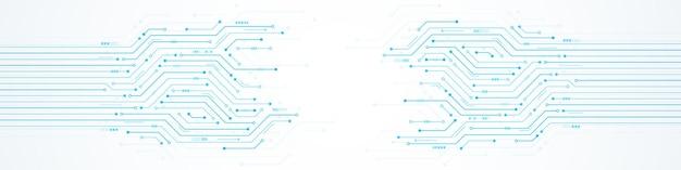 A seta digital do fundo abstrato da tecnologia acelera e o microchip padrão da placa de circuito azul