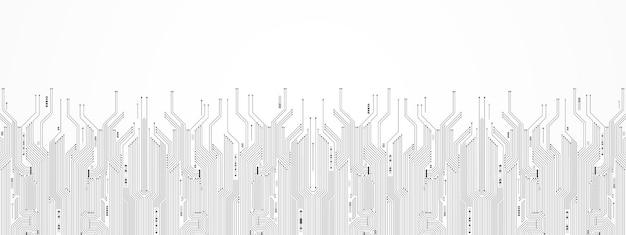 A seta digital do fundo abstrato da tecnologia acelera e o microchip padrão da placa de circuito