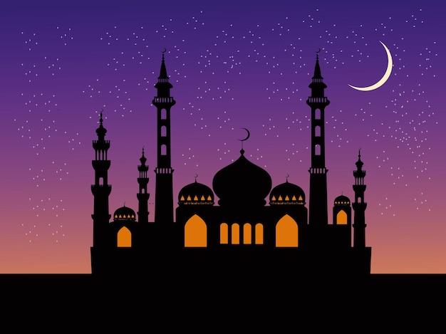A silhueta da mesquita tem um céu azul e estrelas ao fundo.