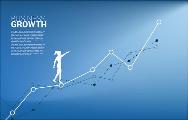 A silhueta da mulher de negócios aponta adiante no gráfico crescente.