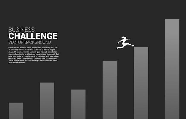 A silhueta da mulher de negócios salta à coluna mais alta do gráfico. conceito de risco e sucesso nos negócios