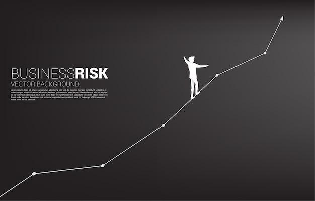 A silhueta do homem de negócios que anda na corda anda até o gráfico linear de crescimento.