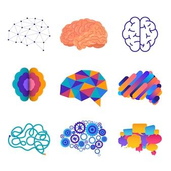 A silhueta humana vê o cérebro na cabeça, que está conectada ao cérebro. ilustrações.