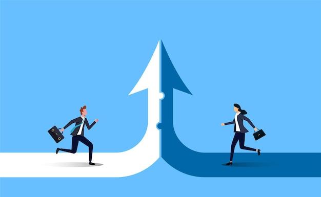 A sinergia de colaboração trabalha para crescer juntos