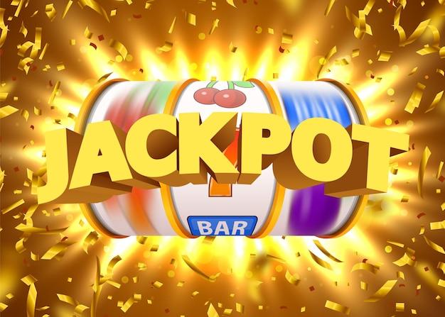 A slot machine dourada com confetes dourados voadores ganha o jackpot. grande vitória