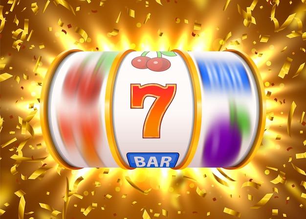 A slot machine dourada com confetes dourados voadores ganha o jackpot.