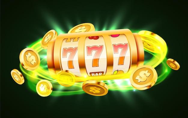 A slot machine dourada com moedas de ouro voadoras ganha o jackpot.
