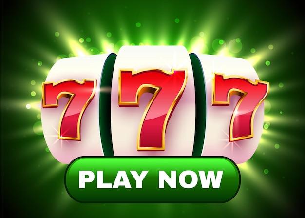 A slot machine dourada ganha o jackpot. botão jogar agora.