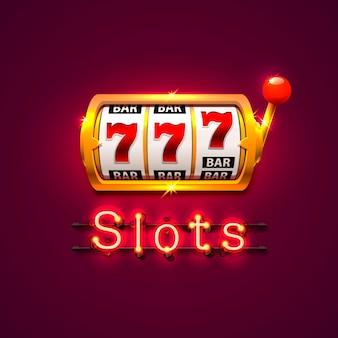 A slot machine dourada neon ganha o jackpot. isolado sobre fundo vermelho. ilustração vetorial