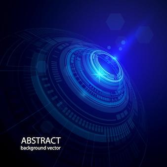 A tecnologia abstrata circunda o fundo azul do vetor.
