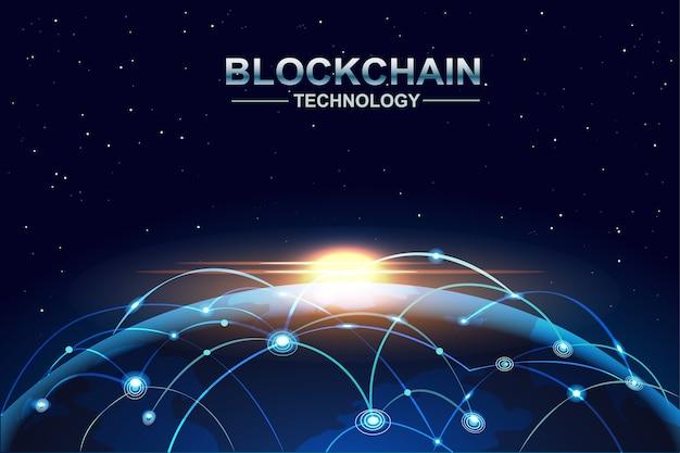 A tecnologia blockchain e bitcoin conecta a rede acima da terra global. Vetor Premium