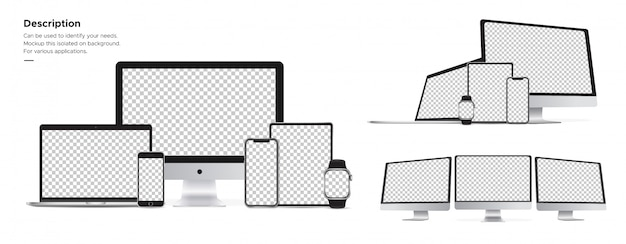 A tecnologia da apple tem imac, iphone, relógio, ipad, objeto macbook isolado no fundo.