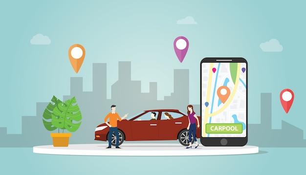 A tecnologia do conceito da partilha de carro do carpool para povos na cidade urbana usa a trilha de localização dos gps