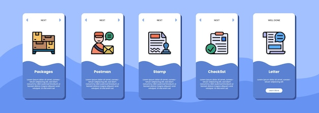A tela do aplicativo móvel empacota lista de verificação e carta do carimbo do carteiro