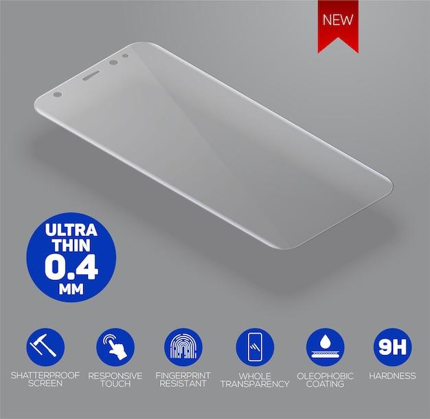 A tela protege o vidro. filme protetor de tela ou tampa de vidro isolada em fundo cinza. acessório móvel.