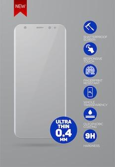 A tela protege o vidro. filme protetor de tela ou tampa de vidro para smartphone de nova versão isolado em fundo cinza. acessório móvel.
