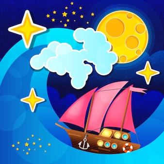 A tempestade da noite acena e enrola um navio de navigação no mar.