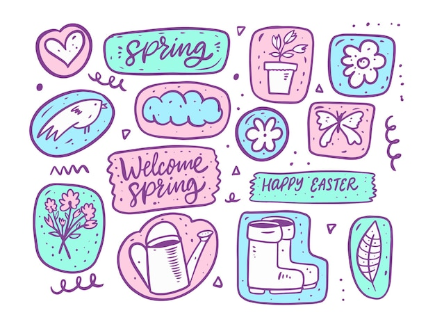 A temporada de primavera doodle conjunto de elementos. estilo de desenho animado desenhado de mão.