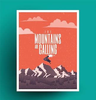 A temporada de snowboard está chegando, cartaz temático de snowboard da estância de esqui de inverno