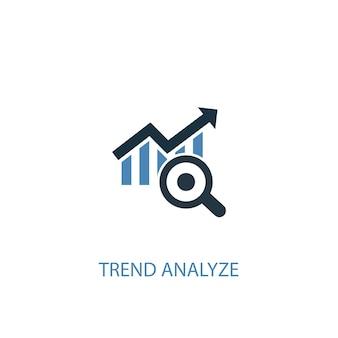 A tendência analisa o ícone colorido do conceito 2. ilustração do elemento azul simples. tendência analisar design de símbolo de conceito. pode ser usado para ui / ux da web e móvel
