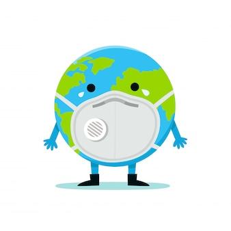 A terra em uma máscara facial para prevenir doenças, gripes, poluição do ar, ar contaminado, poluição mundial, pm10, pm2.5. conceito de dia mundial do ambiente.