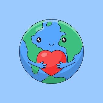 A terra fofa dos desenhos animados abraçando o pequeno amor para o estilo de contorno do dia mundial do coração Vetor Premium