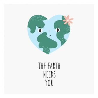 A terra precisa de você postal ecológico com planeta em forma de coração verde.