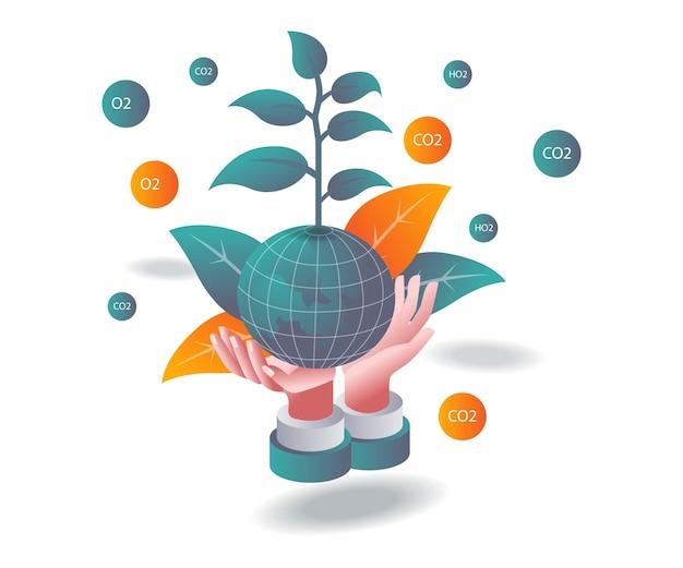 A terra verde está em nossas mãos na ilustração isométrica