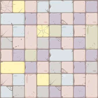 A textura de cores pastel apedreja telhas, parede de pedra do fundo sem emenda.