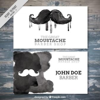 A tinta preta cartão de bigode barbearia