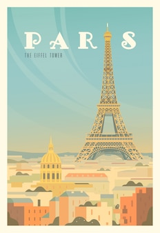 A torre eiffel, árvores. hora de viajar. ao redor do mundo. cartaz de qualidade. frança.
