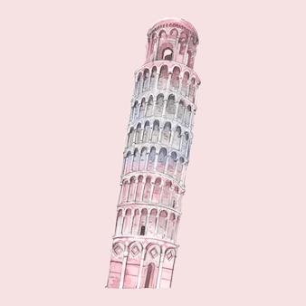A, torre inclinada, de, pisa, pintado, por, aquarela