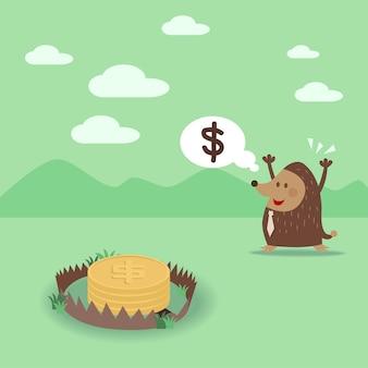 A toupeira vê a moeda do dólar na armadilha