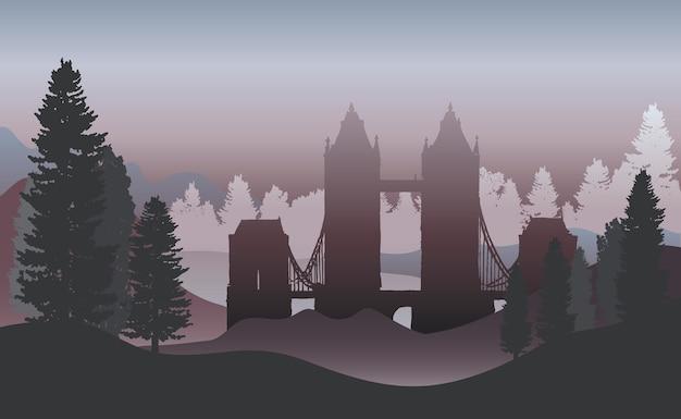A tower bridge em um vetor da floresta