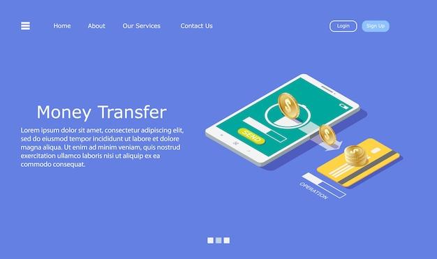 A transferência de dinheiro do telefone móvel para o cartão de crédito, conceito de transferência de dinheiro.
