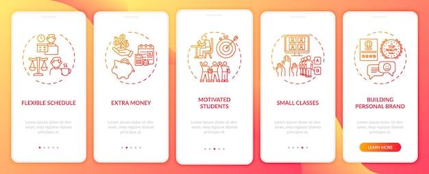 A tutoria online beneficia a tela da página do aplicativo móvel com conceitos. alunos motivados explicam o modelo de interface do usuário de 5 etapas com ilustrações coloridas rgb