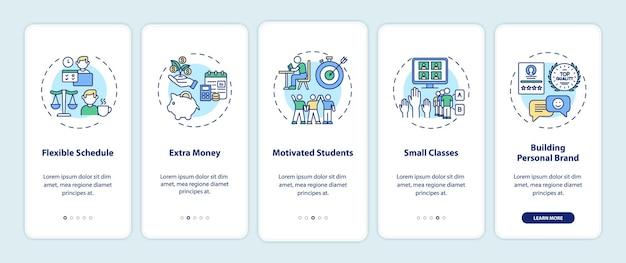 A tutoria online beneficia a tela da página do aplicativo móvel com conceitos. etapas de acompanhamento de cronograma flexível. modelo de iu com cor rgb