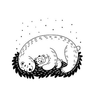 A ursa e o filhote de urso estão dormindo. mãe e bebê urso estão se abraçando. ilustração em vetor preto e branco